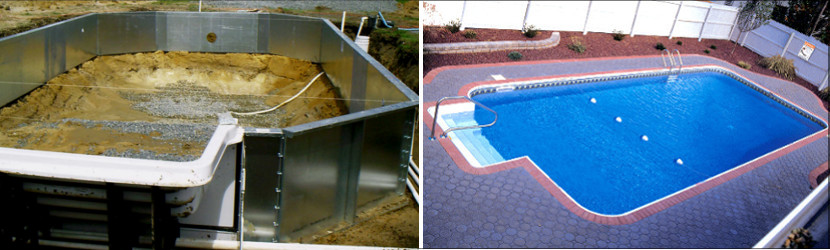 Steel Pool Walls & Finished Steel pool830X250
